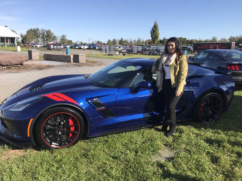 Angela Karas with Blue Chevy Corvette Stingray